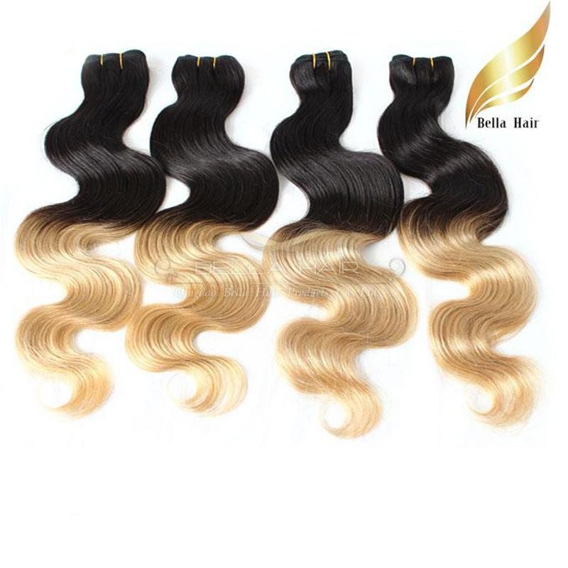 "Brazilian Hair Weaves Hair Extensions Weft Ombre Human Hair Dip Dye Two Tone #T1B/#14""-26"" Body Wave Bellahair 7A"
