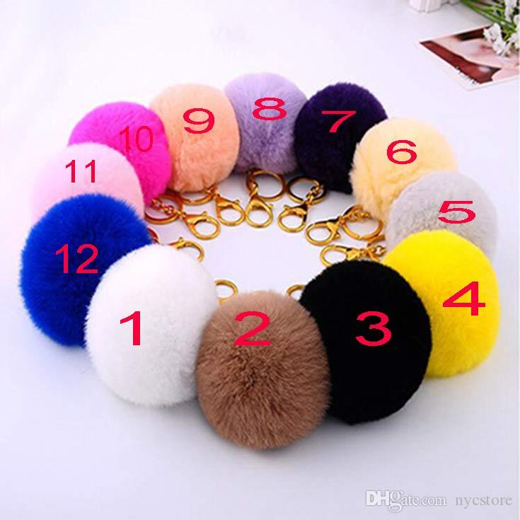 10pcs lovely 8CM Genuine Leather Rabbit fur ball plush key chain for car key ring Bag Pendant car keychain