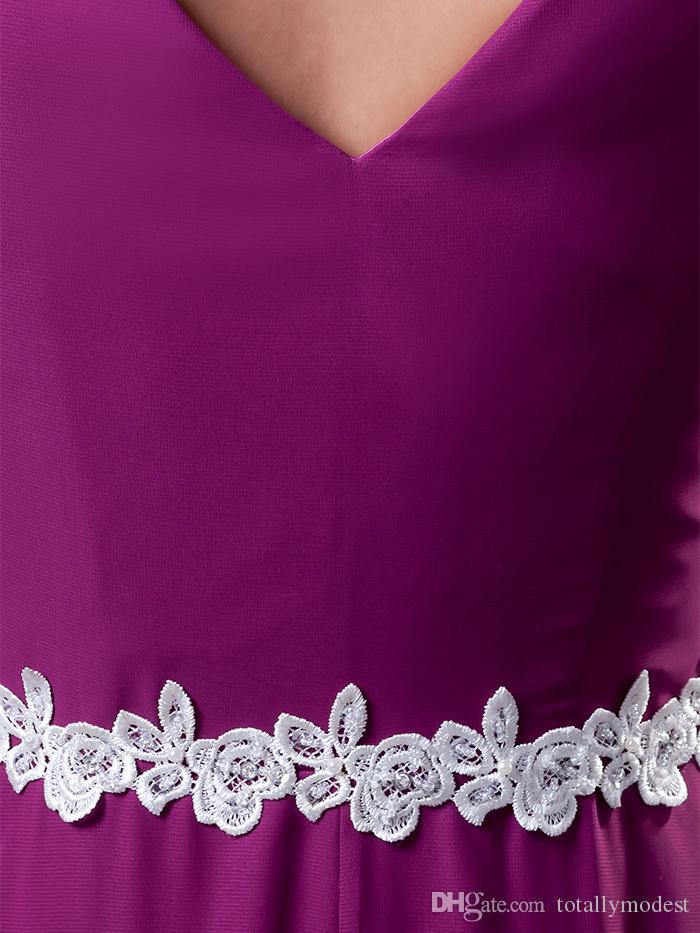 Real Viola Chiffon Modest Modest Abiti da damigella d'onore con maniche a cappuccio gioiello collo di pizzo Appliques Semplice abiti da sposa abiti da sposa Maiders of Honor