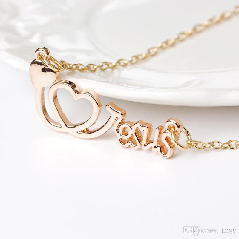 Moda Colares Colar de Coração Jesus Letras Amor Colares Pingente de Liga de Três Cores Para As Mulheres Colar de Presente