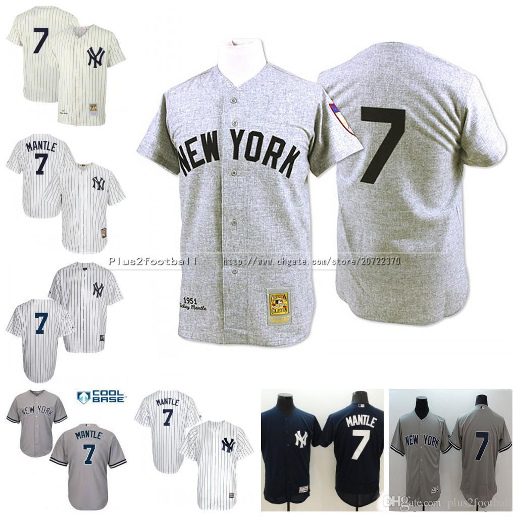 92383de9bae ... norway 2017 mlb baseball new york yankees jerseys 7 mickey mantle  authentic grey throwback mitchell and
