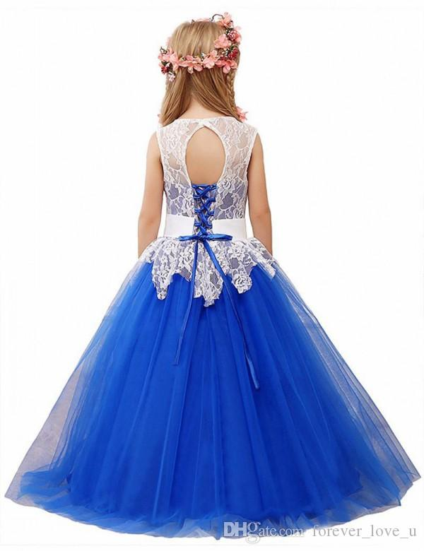 Abiti da ragazza di fiori vintage Abiti formali bambini matrimoni Una linea Blu royal Flowergirl Piano Lunghezza Abito Pizzo Top Cristalli Peplo