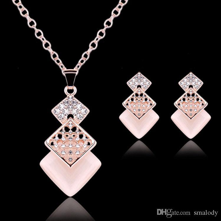 Fashion elegant imitated gem geometric pendant earrings necklace set simple sweet lovely jewelry set