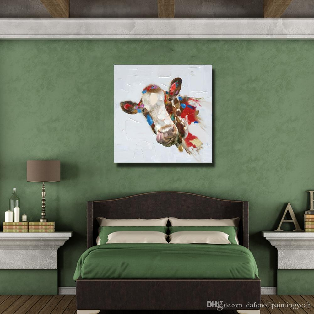 New Design Modern Animal Pictures on Canvas Home Decor Sitting Room Wall Pictures Abstract Cow Oil Painting 1 Peices No framed