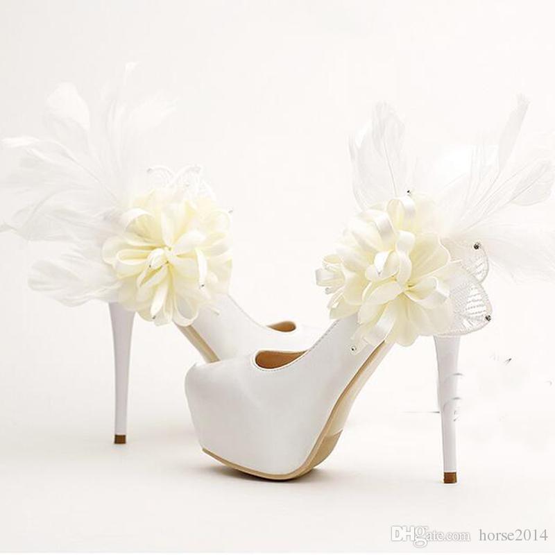 Sweet Floral Feather Bridal Shoes Fashion Stiletto Heels Platforms Party Shoes White Satin Wedding Dress Pumps Bridesmaid Shoes