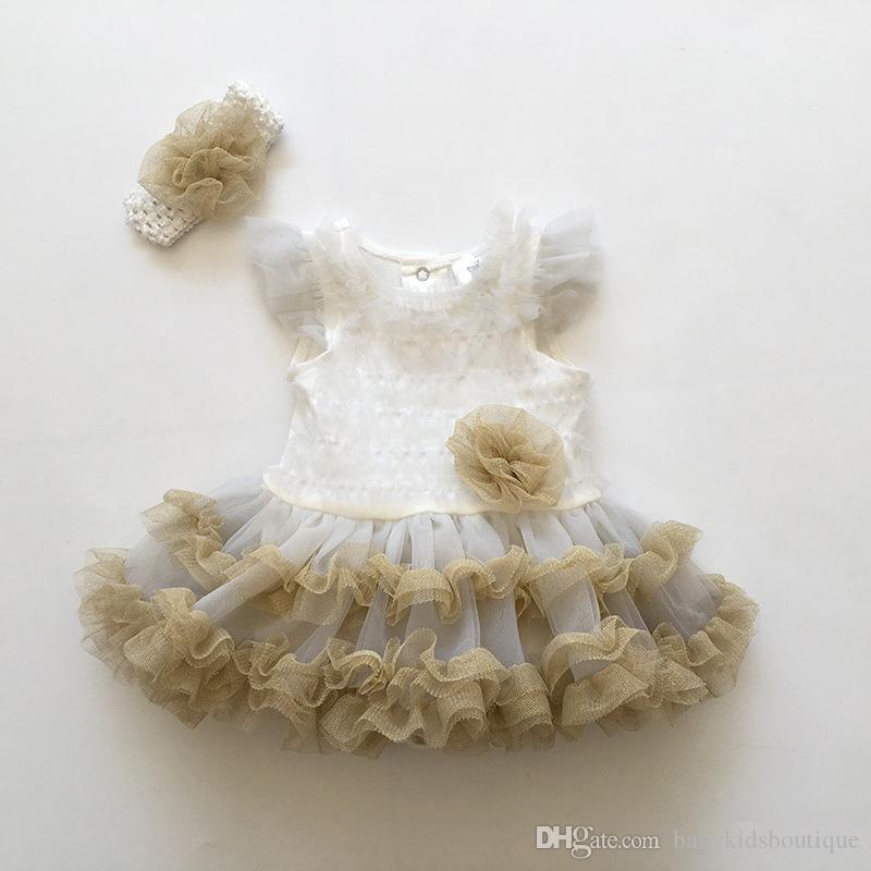 새 핑크색 아기 소녀 Onesies 레이스 투투 드레스 신생아 유아 점프 슈트 꽃 패션 여름 세트 Rompers 및 머리띠 아기 의상