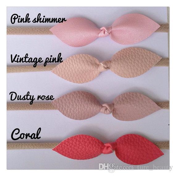 Baby Nackt Nylon Stirnband - 3 Zoll Kunstlederblatt Blütenblatt Bogen Stirnband / Haartie Kinder Haarbänder Haarschmuck! 50 Stück/