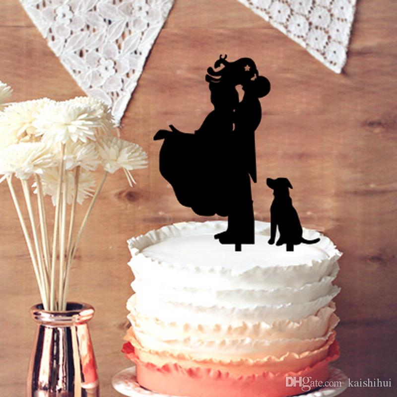 2018 Funny Wedding Cake Topper, Groom Lifting Bride With Dog ...