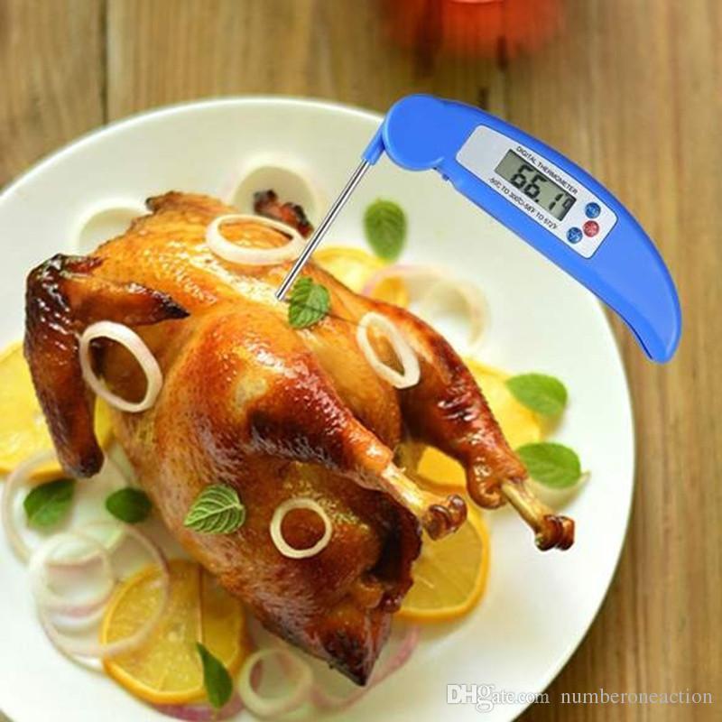 2016 새로운 파란색과 흰색 접이식 바베큐 포크 온도계 베이커 미니 에센셜 전자 음식 특가 요리 디지털 온도계