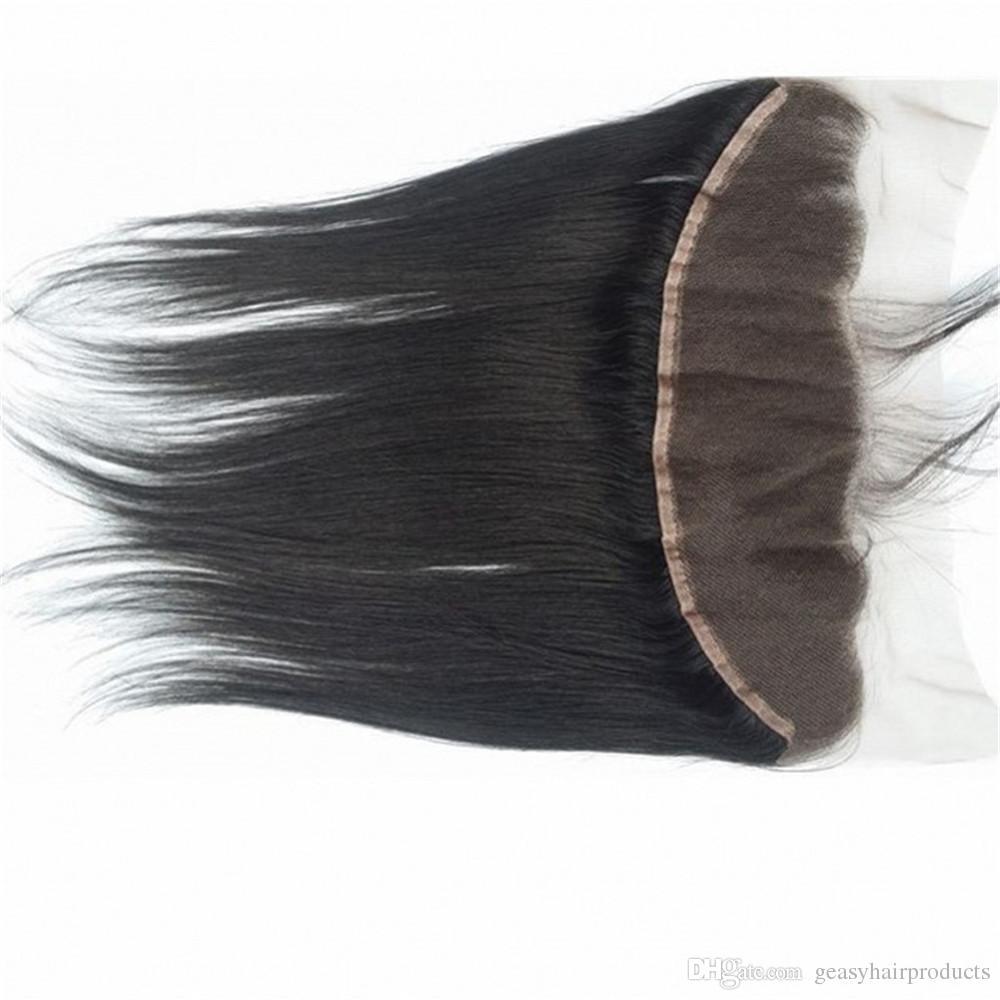 13x4 Full Frontal Lace Closure Mit 4 Stücke Mongolische Gerade Haarwebart Bundles Natural Black kann gefärbt werden G-EASY