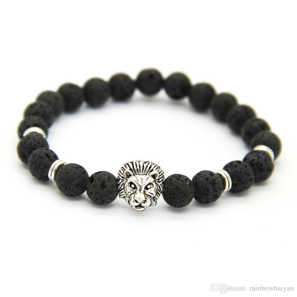 Nuevo Diseño 1 UNIDS 8mm Lave Stone Beads Oro Plata Rose Plated Lion Owl Mejor Regalo Pulseras