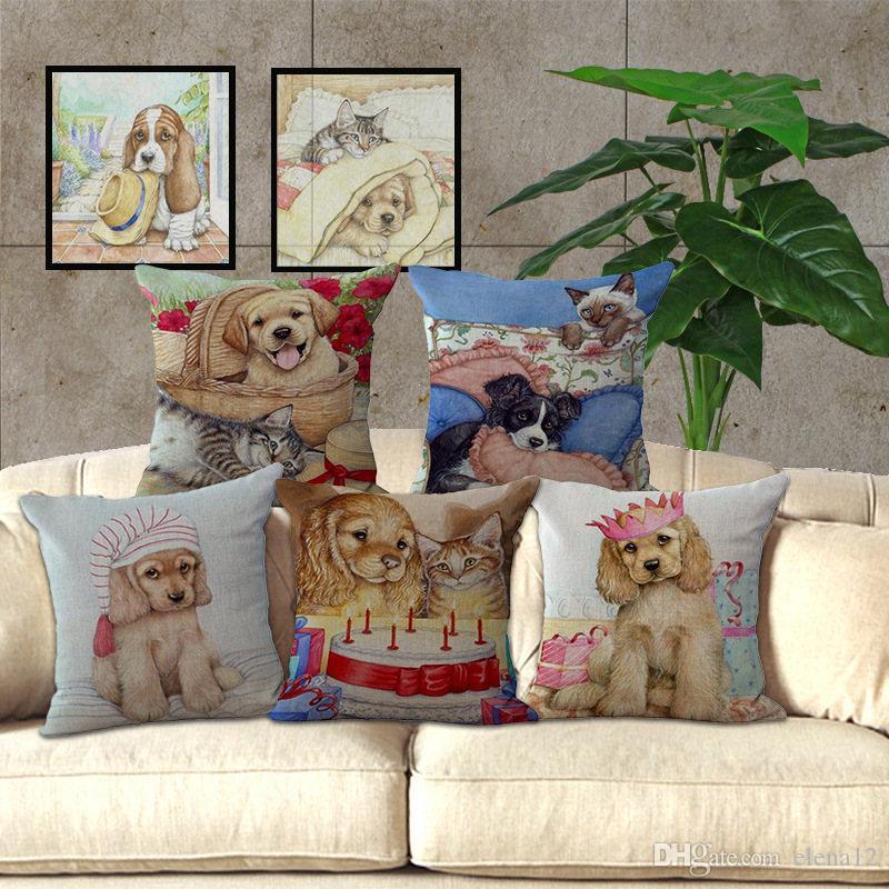Lindo Perro de Mascota Gato Patrón de Dibujos Animados Asiento almohada cubierta funda de almohada Silla Decorativa Home Throw Funda de Almohada 45 * 45 cm 240476