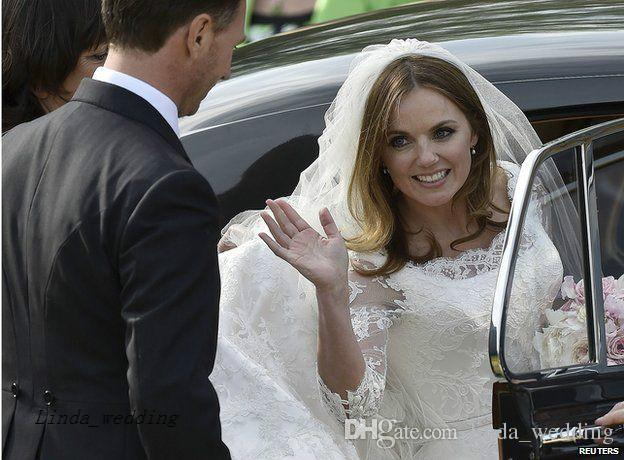 STUNNING Geri Halliwell Best Celebrity Wedding Dresses High Quality Lace Formal Bridal Party Gowns