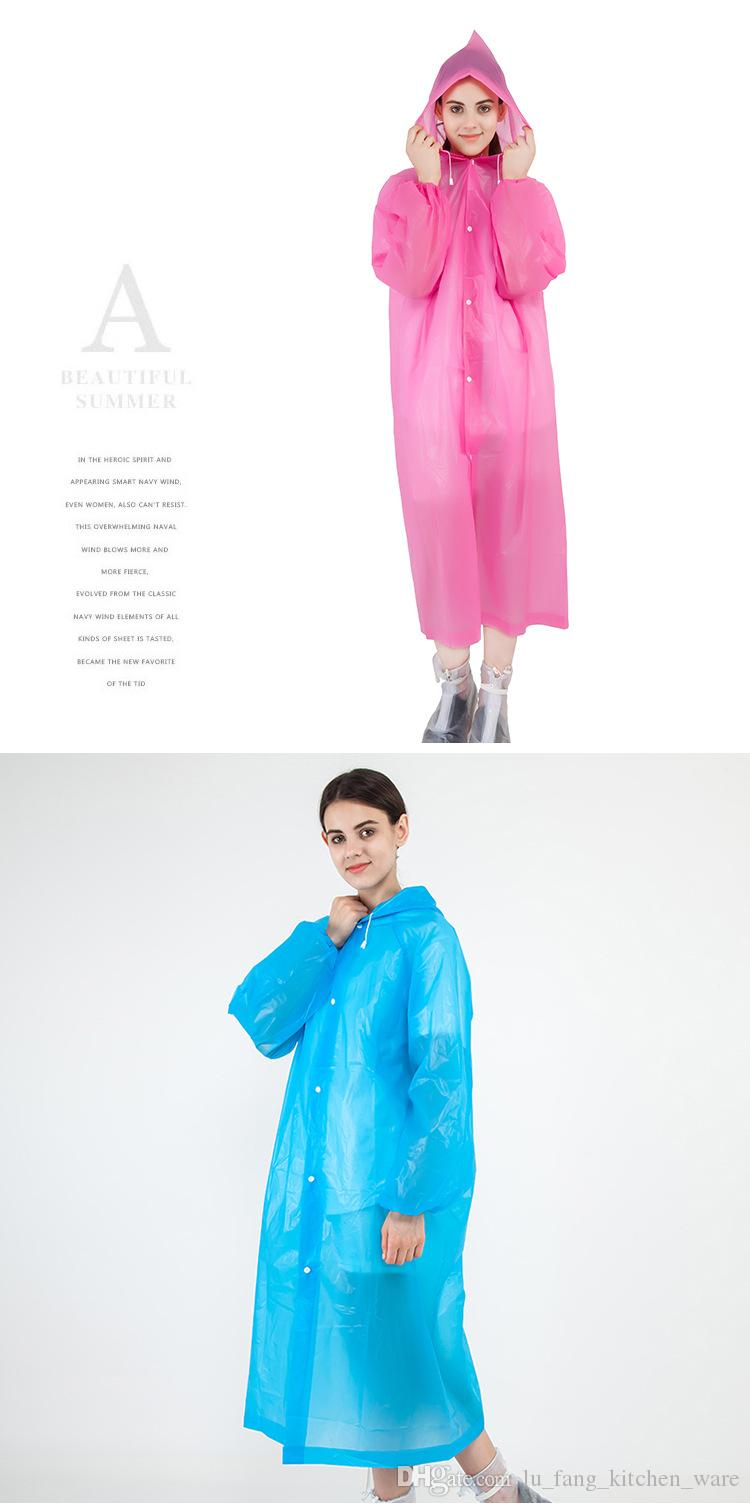 raincoat Portable outdoor product Thick waterproof block wind Transparent solid color eco-raincoat No profit Offsetting easy use wholesale
