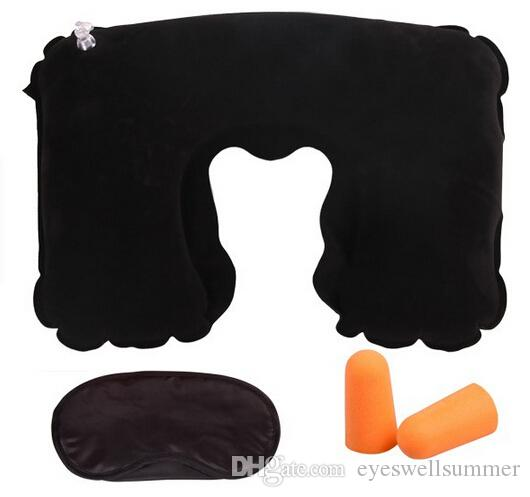 3 in da campeggio auto da campeggio Set di cuscini gonfiabili Cuscino cuscini + Ombretto Maschera + 2 tappi le orecchie