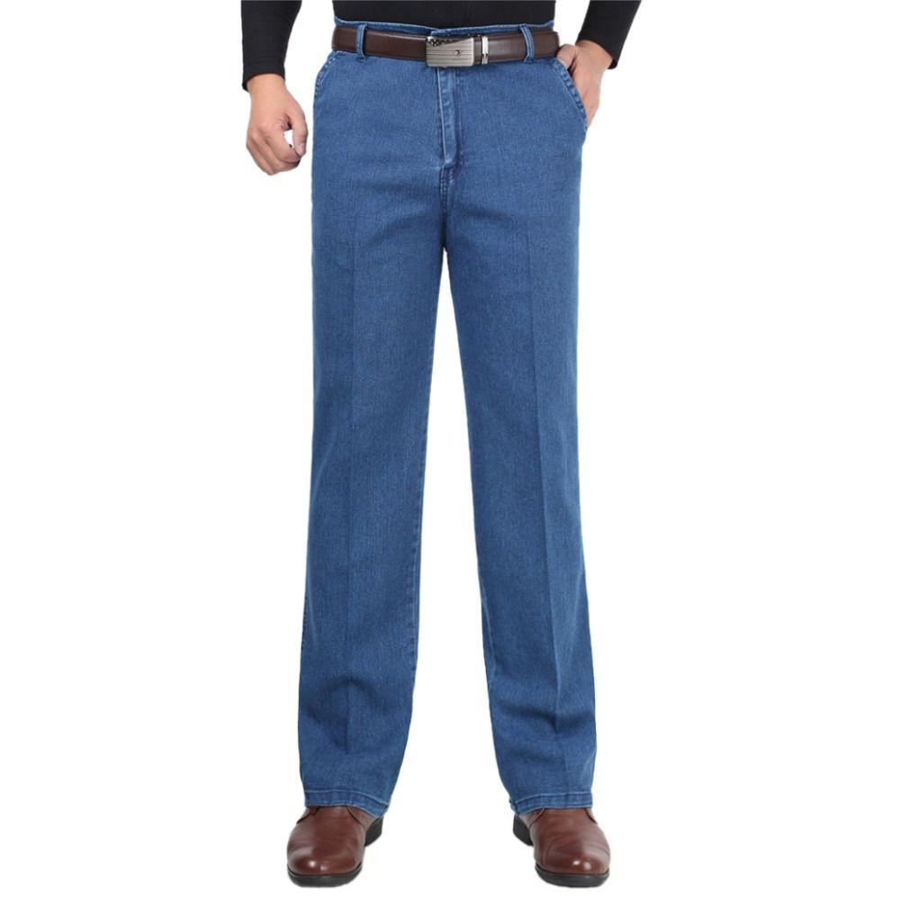 c889e2822ef Acheter Hommes Bleu Denim Pants Casual Classique Droite Homme Long Pantalon  Baggy Stretch Homme Biker Jeans Avec Taille Haute Taille Lâche 30 40 De   57.3 Du ...