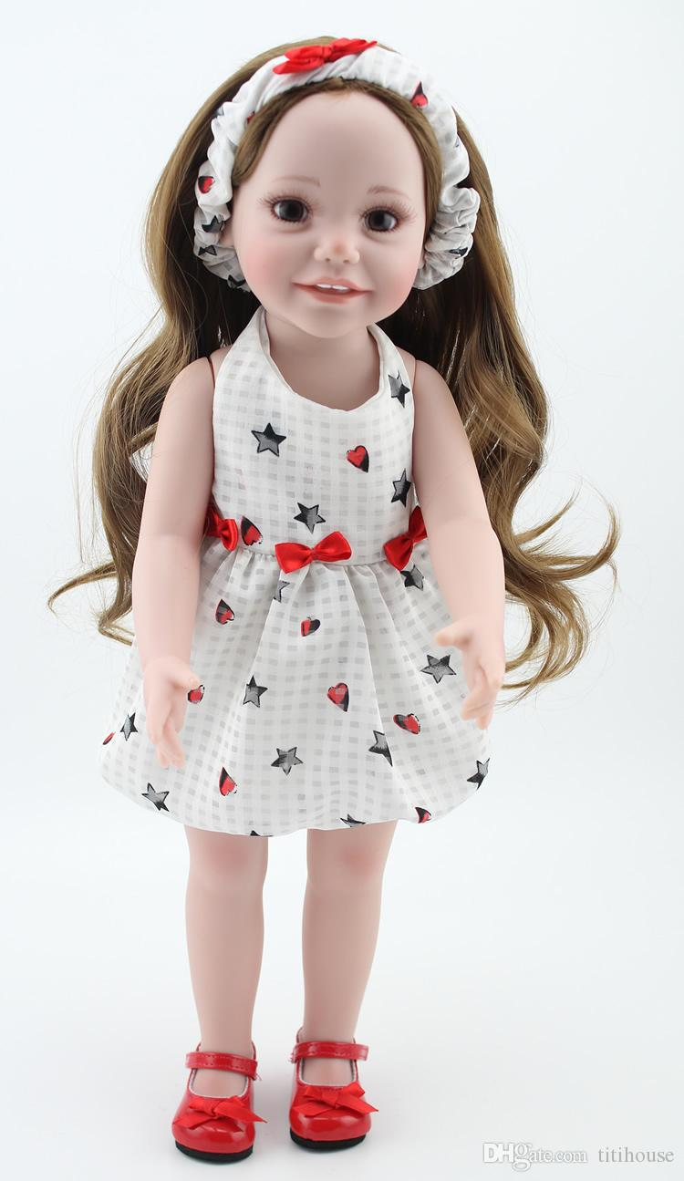 """2018 NEW 25 Models 18"""" Blonde/Brown Hair 45cm Girl Doll Realistic Baby Toys Birthday Gift for Girls As American Girl Dolls"""
