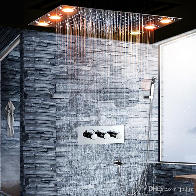 Compre Cuarto De Baño De Lujo Caliente Fría Lluvia Mezclador Conjunto De  Ducha 360x500mm Empotrado Techo Montado Lluvia LED Sistema De Cabezal De ...