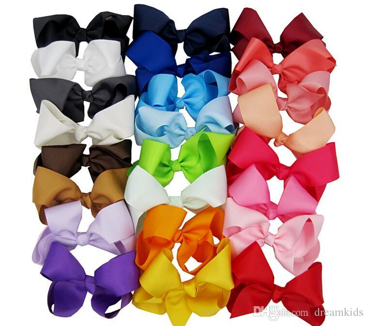 Yüksek Kaliteli Klip Kızlar Büyük Katı Bow Saç Klipler Aksesuarları ile stok 15cm Kurdele Saç Bow 24 Renkler