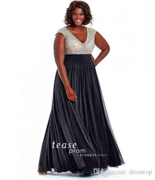 New Arrival Beaded Plus Size Mother Of The Bride Dresses V Neck A