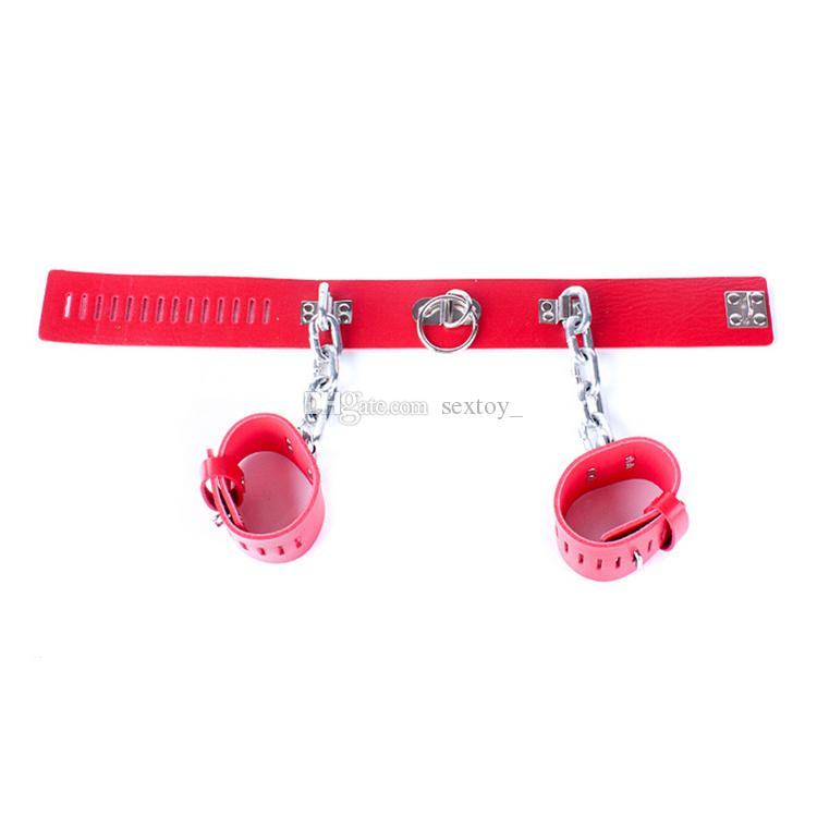 Love Red Leather Heavy Metal Chain Lockable Collar Handcuffs Positioning Gear Slave Bondage Fetish Restraint Sex Shackles
