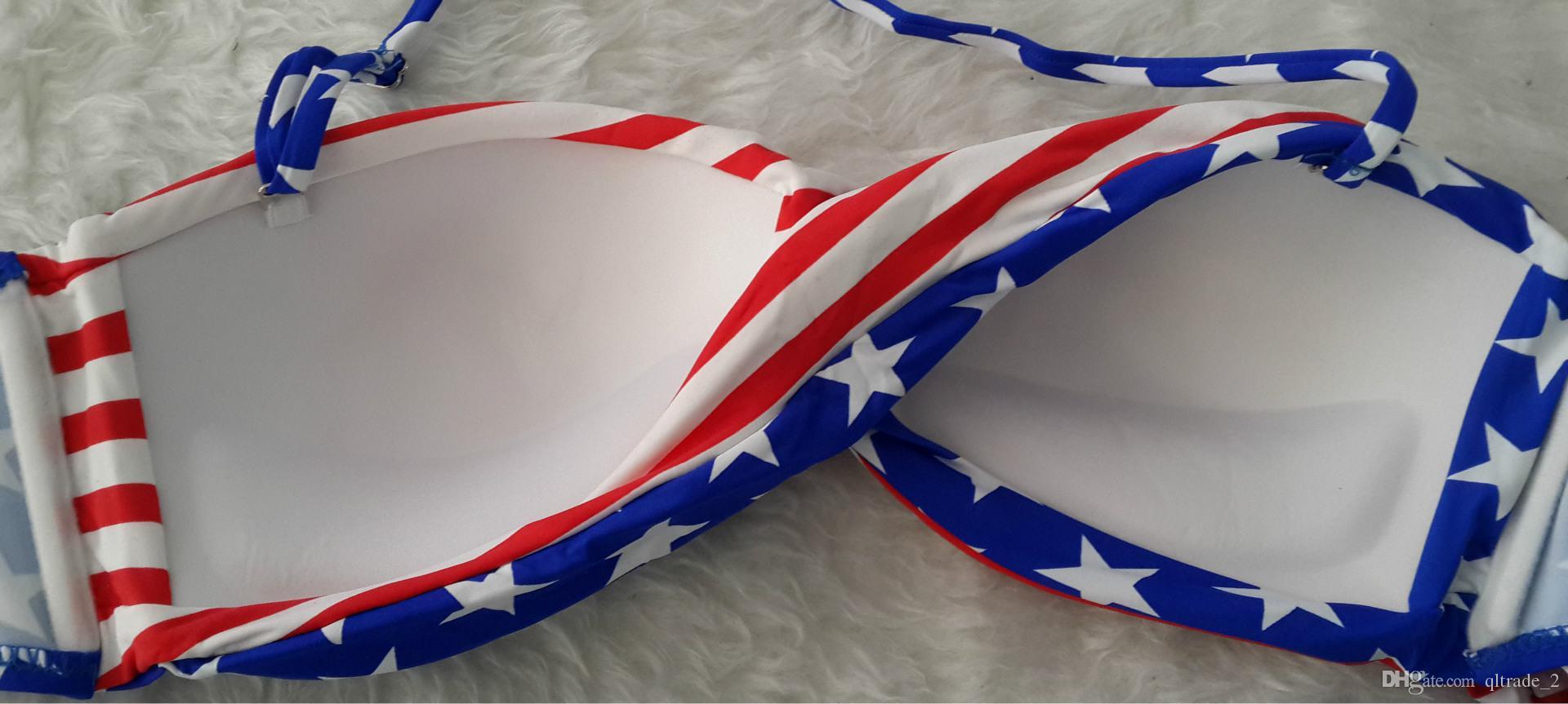 2016 bikini costumi da bagno bikini imposta bandiera americana bandiera bikini costume da bagno a tre punti bikini sexy