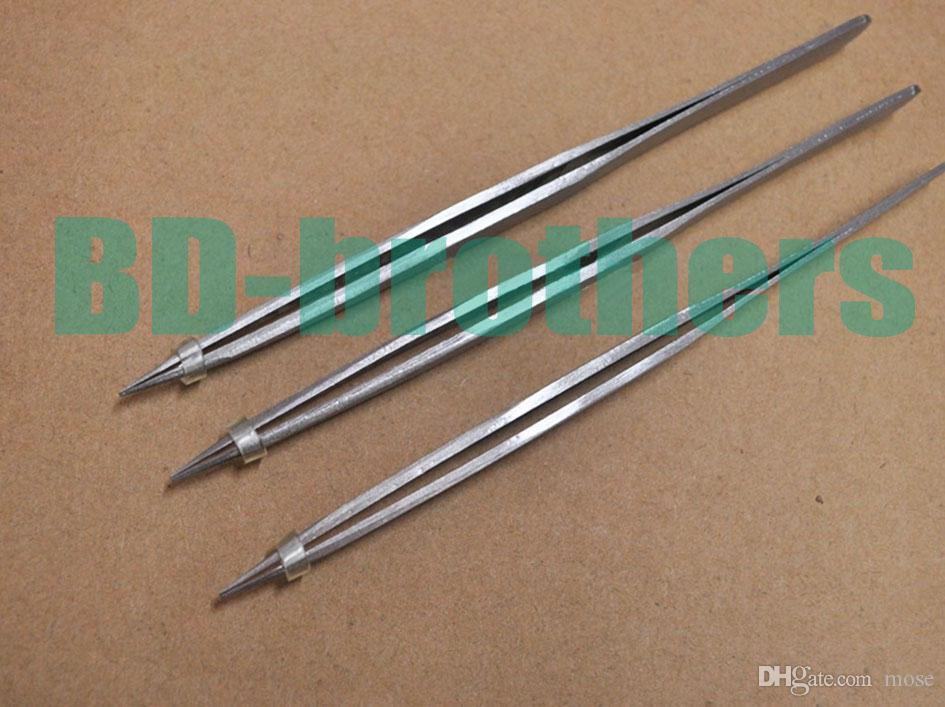 2.0mm Thick Stainless Steel Nonmagnetic Tweezers 13cm Length Good Quality for Phone Repair Eyelash Tools Wholesale