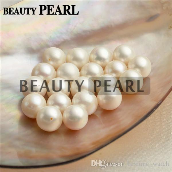 Wholesale Round White Freshwater Pearls Loose Beads Cultured Pearl Half-drilled or Un-drilled 9-9.5mm