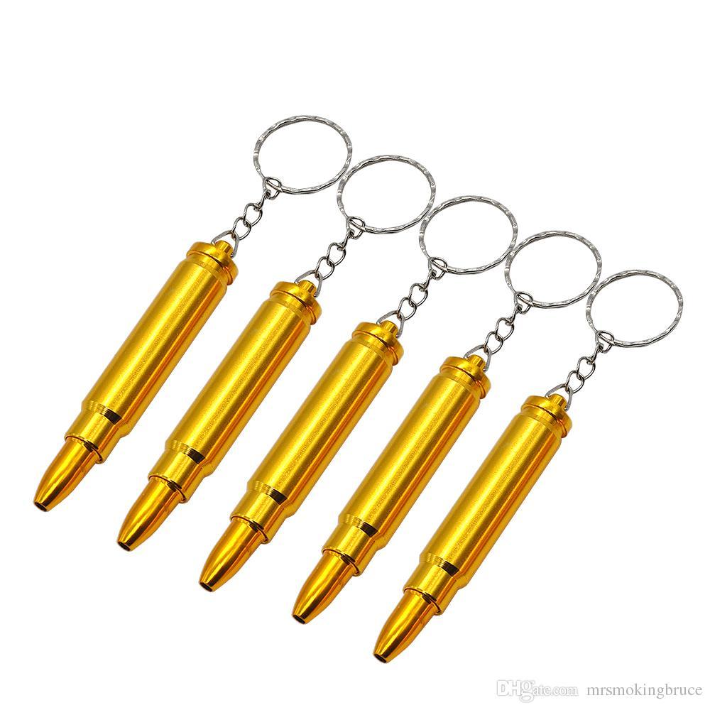Vendita al dettaglio / all'ingrosso proiettile oro in metallo catena di metallo tubo fumante testa pistola pistola pistola a forma di pallottolo forma di sigaretta