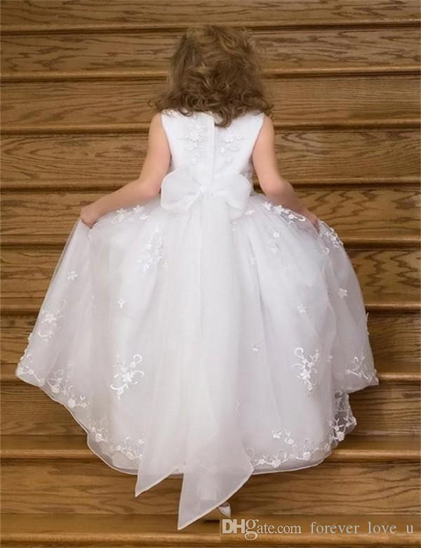 귀여운 공주 꽃 소녀 드레스 결혼식 빈티지 레이스 보석 목 민소매 아이 정장 가운 활 띠 아플리케