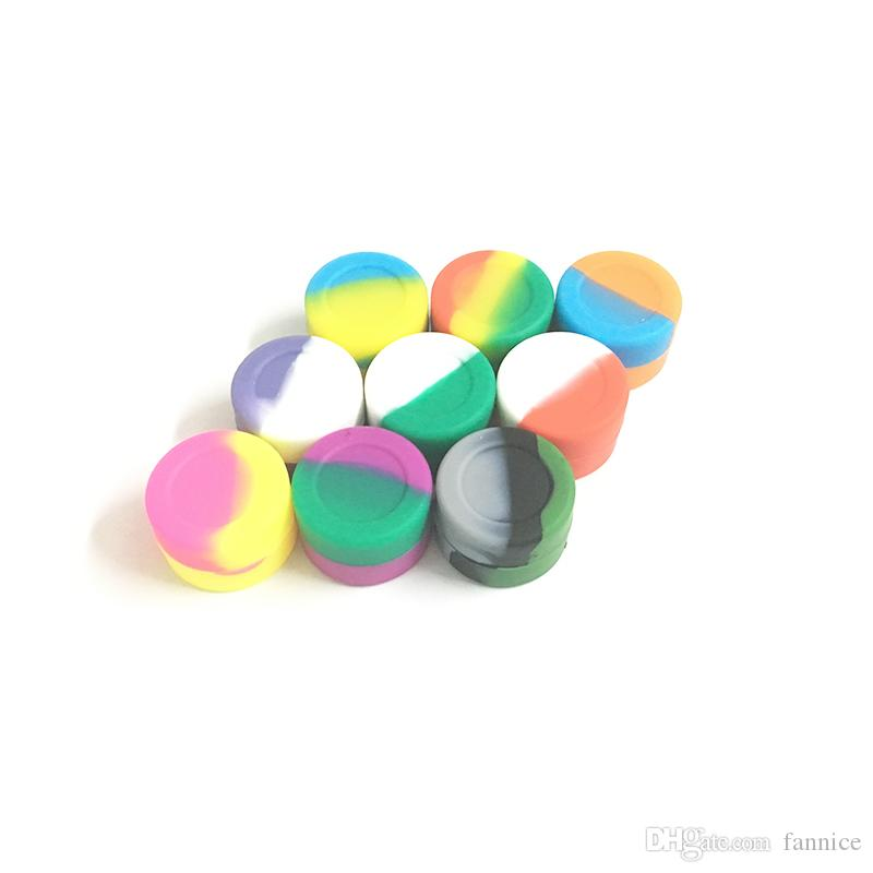 8b55a103420a 100 X Mixed Color Non-stick Silicone Container 3ml Round Shape Wax  Container Silicone Dab Jar Screw Top