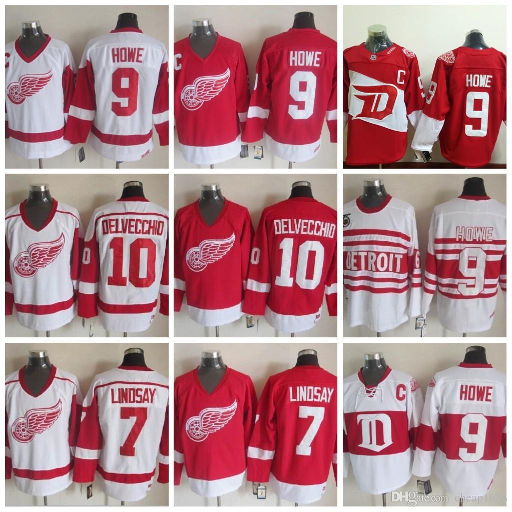 7bca564349e ... Detroit Red Wings 9 Gordie Howe Jersey, 7 Ted Lindsay ICE Hockey Jerseys  Men Jerseys Throwback ...