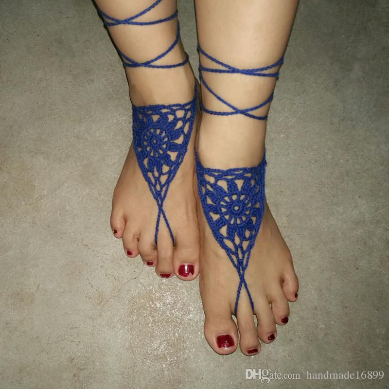 Großhandel Blau Häkeln Barfuss Sandale Häkeln Fußkettchen Häkeln