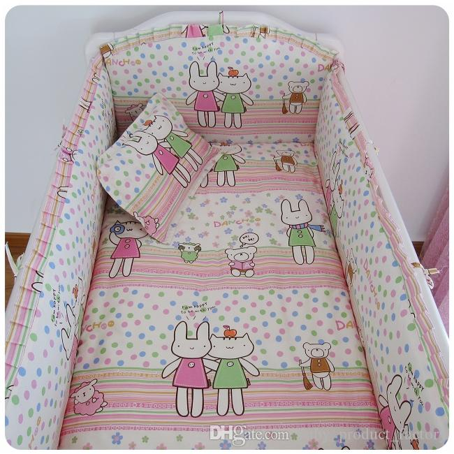Promotion! Baby Crib Bedding piece Set Bed Linen 100%Cotton crib set cot set, bumpers+sheet+pillow cover