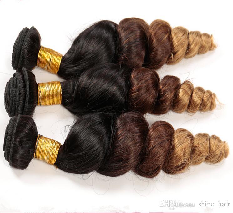Virgin Peruvian Brown Blonde Ombre Human Hair Loose Wave #1B/4/27 Honey Blonde 3Tone Ombre Peruvian Virgin Hair Weave Bundles