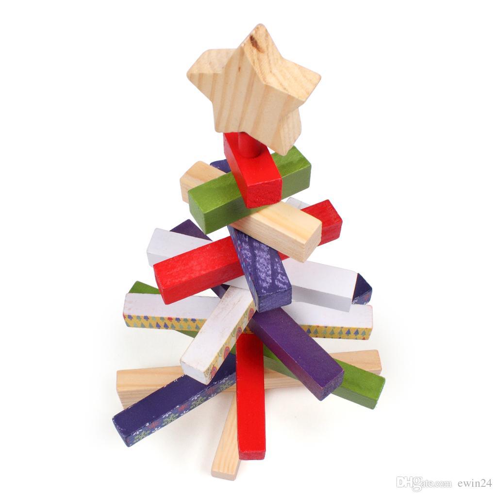 Rotatowalne drewniane bloki Choinki Kreatywny Rzemiosła Prezent Home Decor Toy 11.8 cal Mikołaj dla dzieci