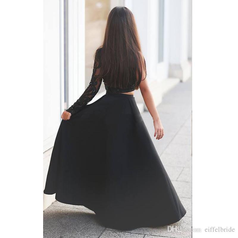 2016 Custom Pageant Robes pour les Adolescents Mignon Perlée De Dentelle Applique Sheer À Manches Longues Noir Une Ligne Deux Pièces Filles Robes De Fête Expédition Rapide