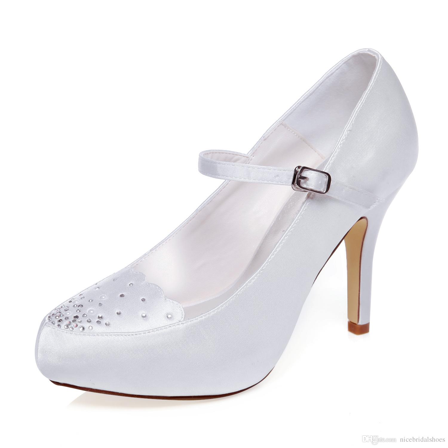 10cm Heel Ivory Color Platform Pump Style Mary Jane Bridal Shoes ...