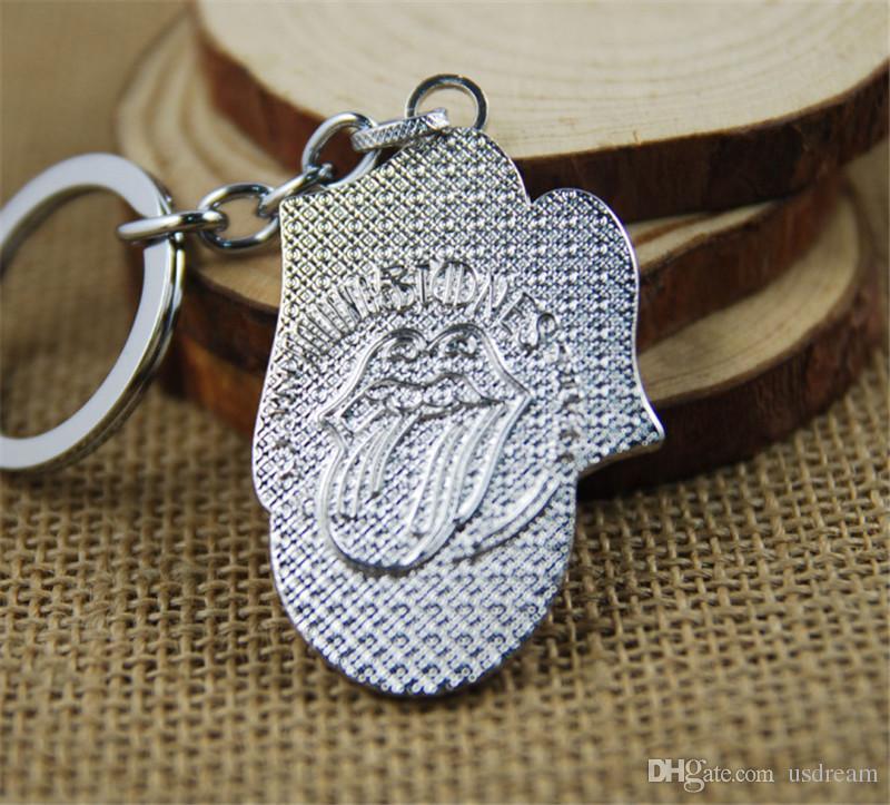 Kleinsatz Rolling Stones Zunge und Lippen-Logo Keychain Schlüsselanhänger Tasche hängt Anhänger für Frauen Männer Schlüsselanhänger Garage Kits 170.464 Keyring