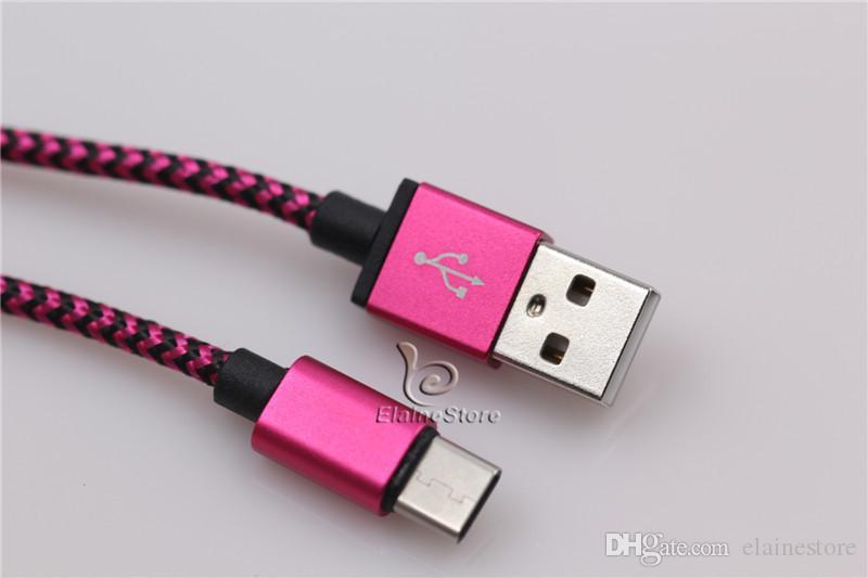 Örgülü Kablolar TİP C 3.1 USB Şarj Kablosu Data Sync Hızlı Şarj Kurşun Adaptörü Samsung Galaxy S8 S8 Artı + C9
