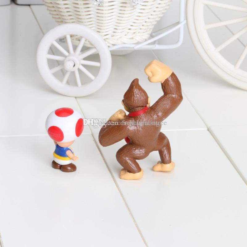 Super Mario Bros Luigi donkey kong Action Figures youshi mario 2inch PVC Toys Dolls Gift Children's Gift toy Sets in opp bag
