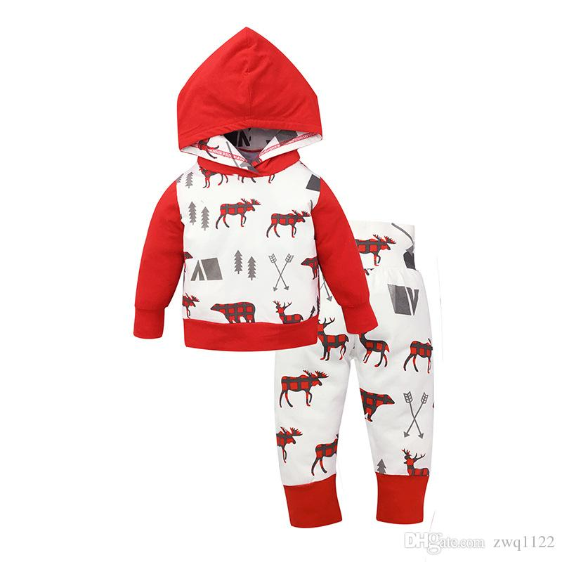 2017 Autumn Infant baby christmas outfits sets newborn toddlers deer print hoodeies+Striped Pants Playsuit Girls Clothing Sets