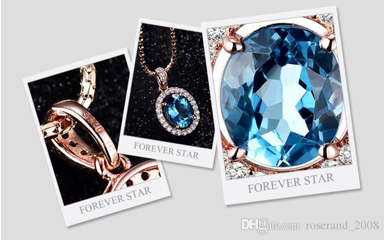 Wholesale Brand New 925 Sterling Silver with Natural Blue Topaz Pendant with Chain Genuine Crystal Necklace for Women Fashion Jewelry