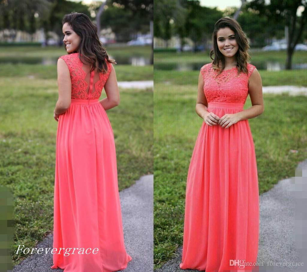 2017 Cheap Chiffon Coral Bridesmaid Dress Illusion Long Gala Garden ...