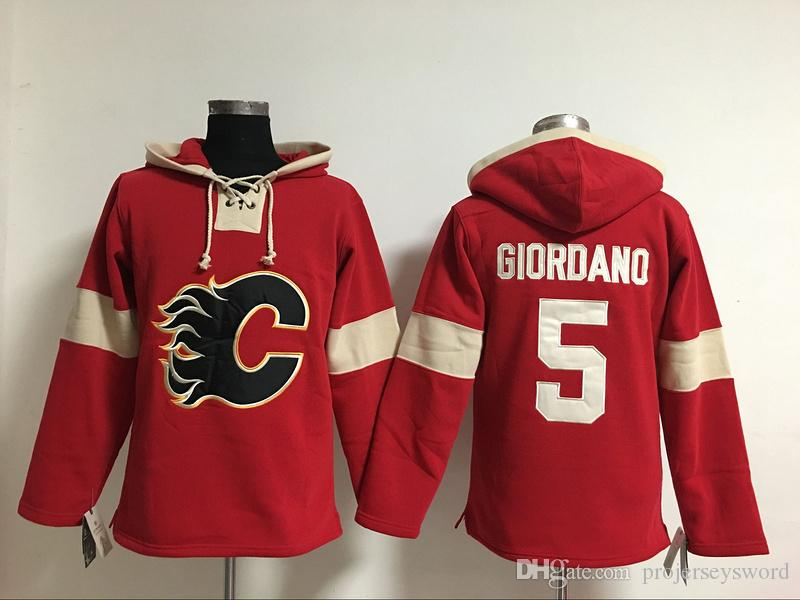 Youth Hockey Jersey Cheap, Calgary Flames Hoodie 5 Mark Giordano 13 Johnny Gaudreau Kids 100% Stitched Embroidery Logos Hoodies Sweatshirts