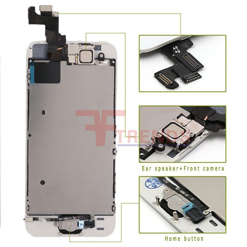 Para iPhone 5 5C 5S SE LCD Pantalla de pantalla táctil Montaje digitalizador con botón de inicio y cámara frontal Flex Cable Auricular 100% prueba