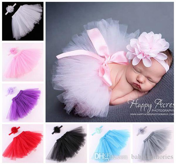 2018 Little Girls Tutu Skirts Baby Chiffon Flower Headbands Tulle Tutus Skirt And Tops Set Newborn Photography Props Pettiskirt Wholesale From