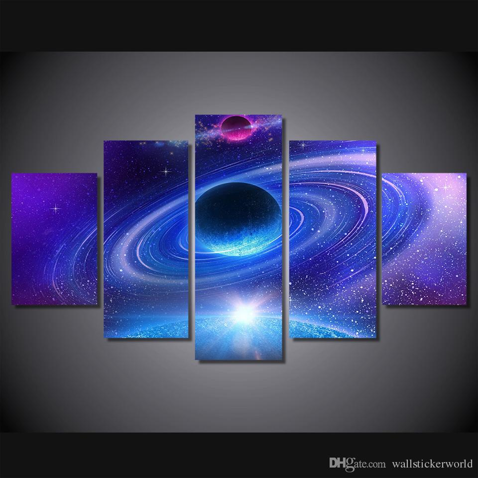 5 Pcs/Set Framed Printed Planet with rings Painting Canvas Print room decor print poster picture canvas Free shipping/ny-4961