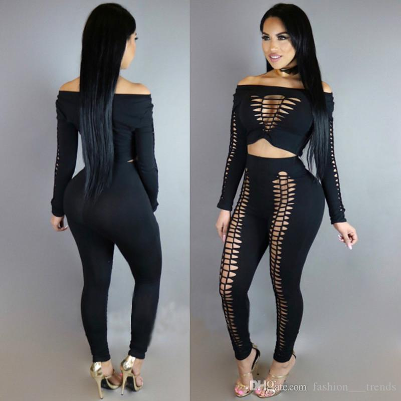 befe2657803 2019 Autumn Fashion Rompers Womens Jumpsuit Sexy Cut Out Hole Long Sleeve  Casual Slash Neck Hollow Out Bodycon Jumpsuits Elastic Overalls From ...