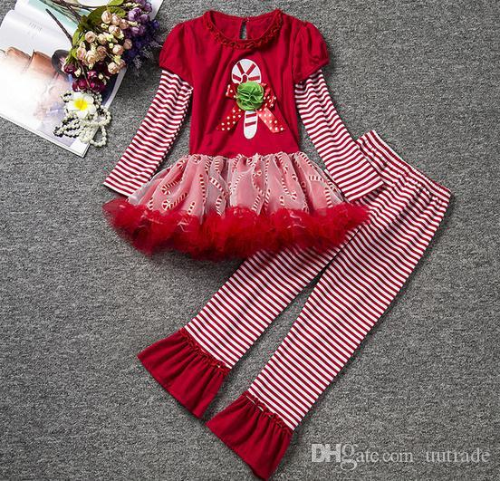 2016 gilrs Christmas suits autumn girls veil Tutu tops T shirts dress+girls Trumpet trousers pants girls dress set kids clothes